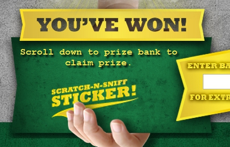 I won!  A scratch...and...sniff...sticker?  From a Beef Jerky company.  This ought to be interesting...